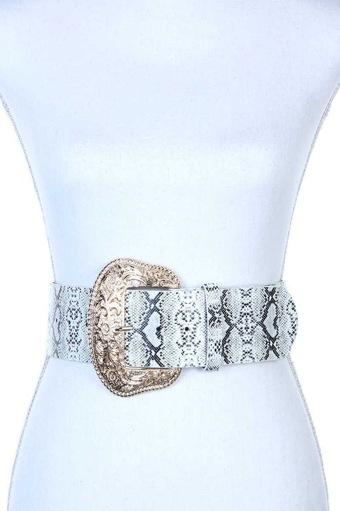 Filigree Wide Metal Buckle Animal Print Pattern Pu Leather Belt