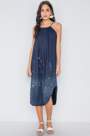 Navy Bleach Dye Loose Fit Cami Midi Dress