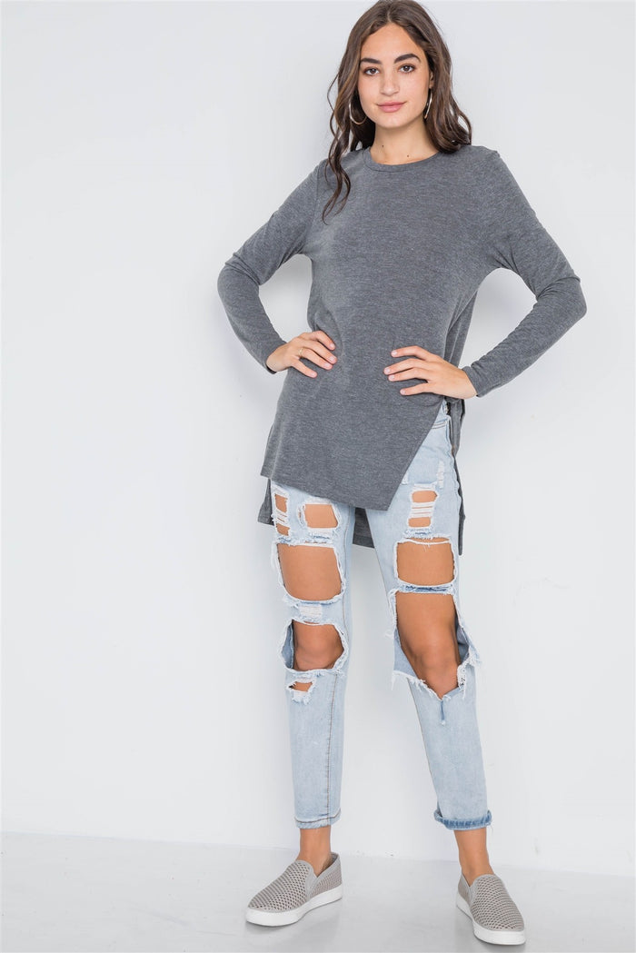 Charcoal Knit High-low Side-tie Sweater
