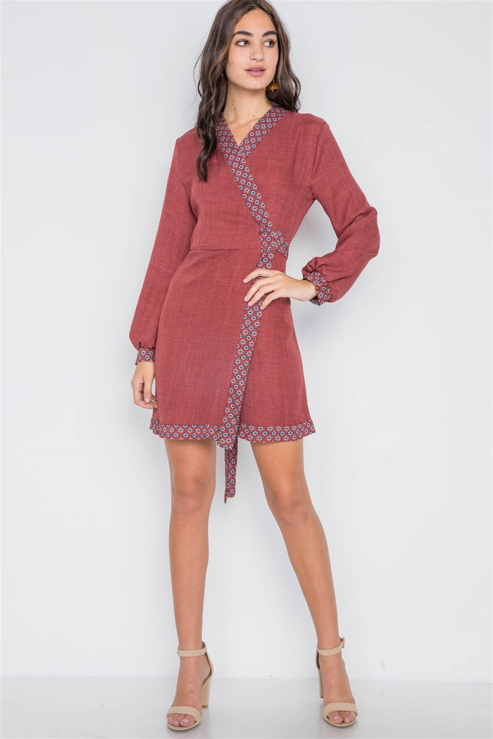 Rust Contrast Trim Long Sleeve Wrap Dress