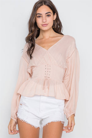 Blush Long Sleeve Lace Up Surplice Neck Top