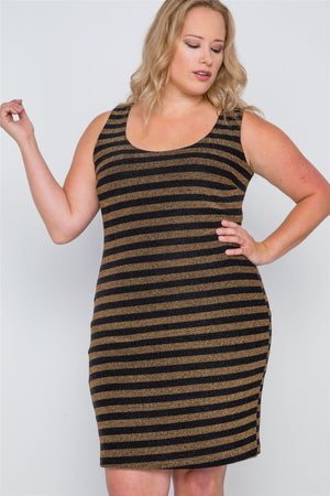 Plus Size Black Gold Stripe Bodycon Mini Dress