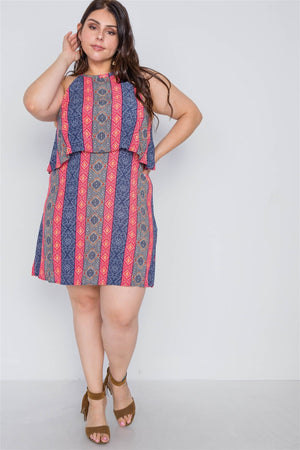 Plus Size Navy Red Flounce Paisley Print Mini Dress