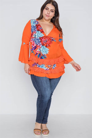 Boho Papaya Plus Size Floral Mix Print Lace Ruffle Hem Top