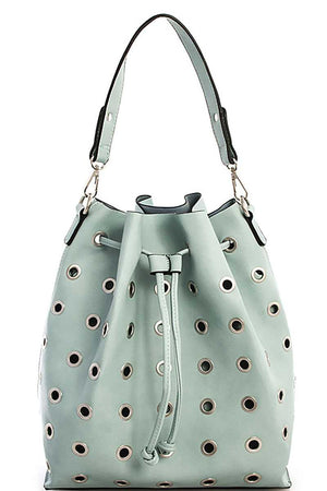 2in1 Modern Ring Studded Bucket Shoulder Bag