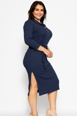 A Pleated Solid, Midi Tee Dress