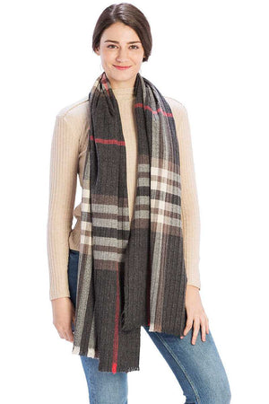Pleated Plaid Pattern Scarf