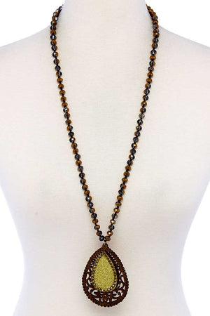Designer Tear Drop Double Layer Pendant Necklace