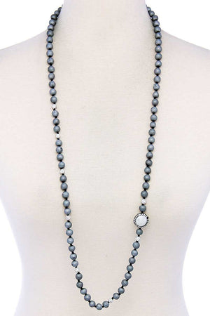 Chic Beaded And Rhinestone Long Necklace