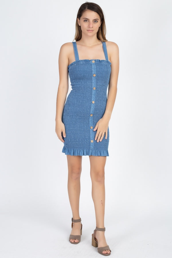 Denim Wash Smocked Mini Dress