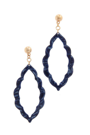 Acetate Moroccan Shape Post Drop Earring