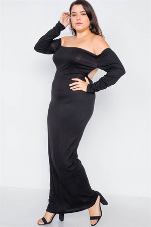 Plus Size Ribbed Black Maxi Dress
