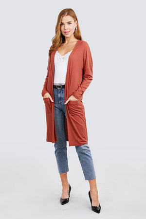 Long Dolman Sleeve Open Front W/pocket Pointelle Rib Long Cardigan