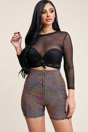 3/4 Sleeve Solid Power Mesh Top And Holographic Shorts