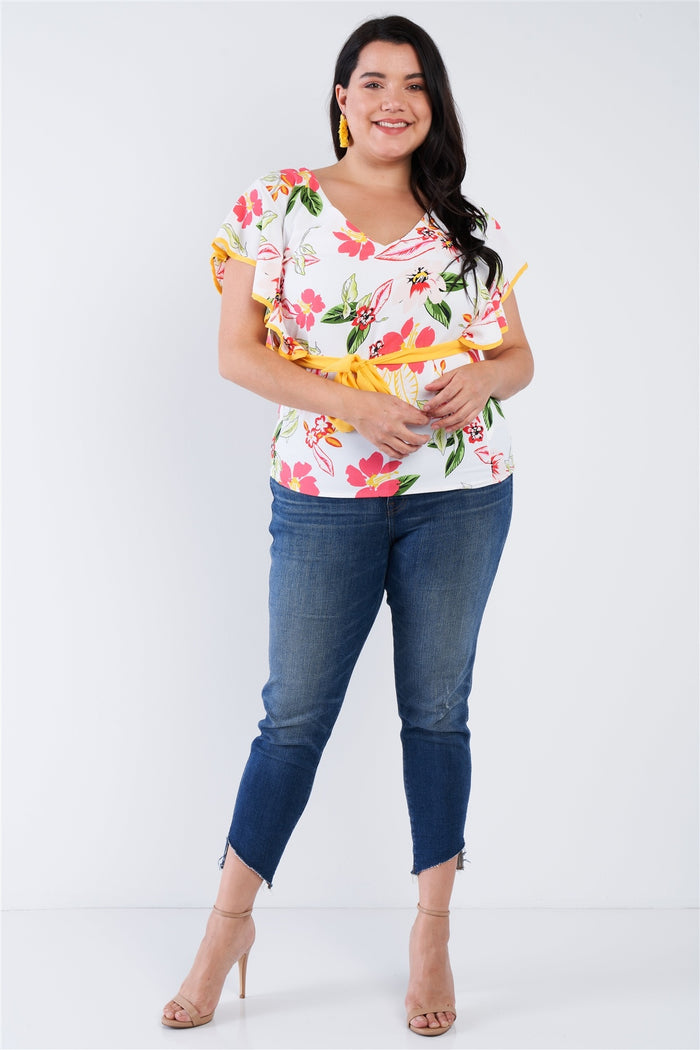 Plus Size Tropical Floral Print Mock Sleeve Chiffon Semi-sheer Top