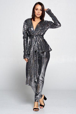 Sequin Deep V Neckline Long Sleeve Top Paired With Sequin Elastic Waist Pants