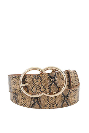 Hot Trendy Python Pattern Double Ring Buckle Belt