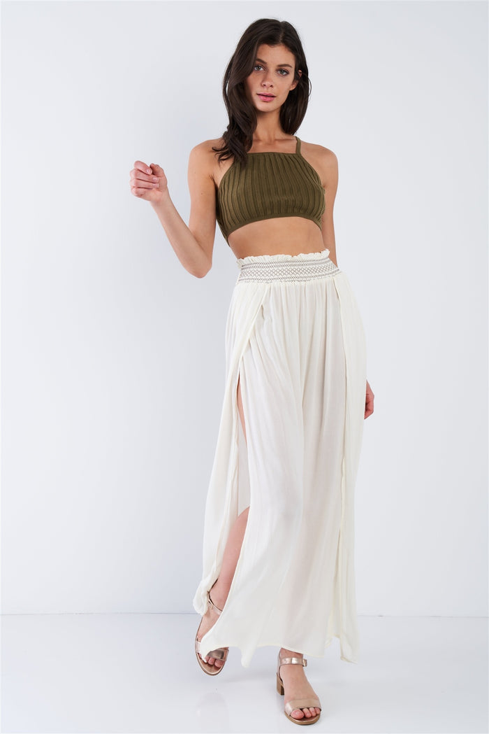 Taupe Sheer Center Side Slit Cut Out Boho Elastic Waist Maxi Skirt