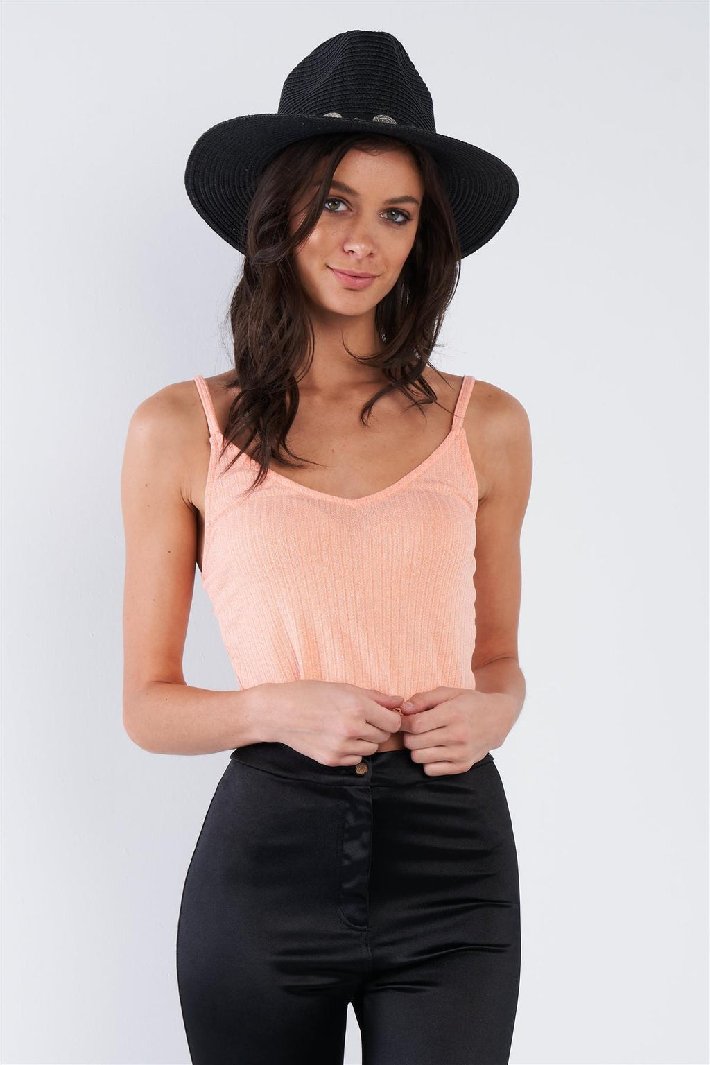 Boho Ribbed Low Back Spaghetti Strap Crop Top