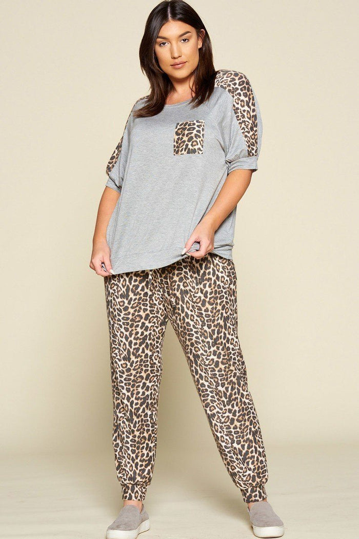 Plus Size Cute Animal Printed French Terry Jogger Pants