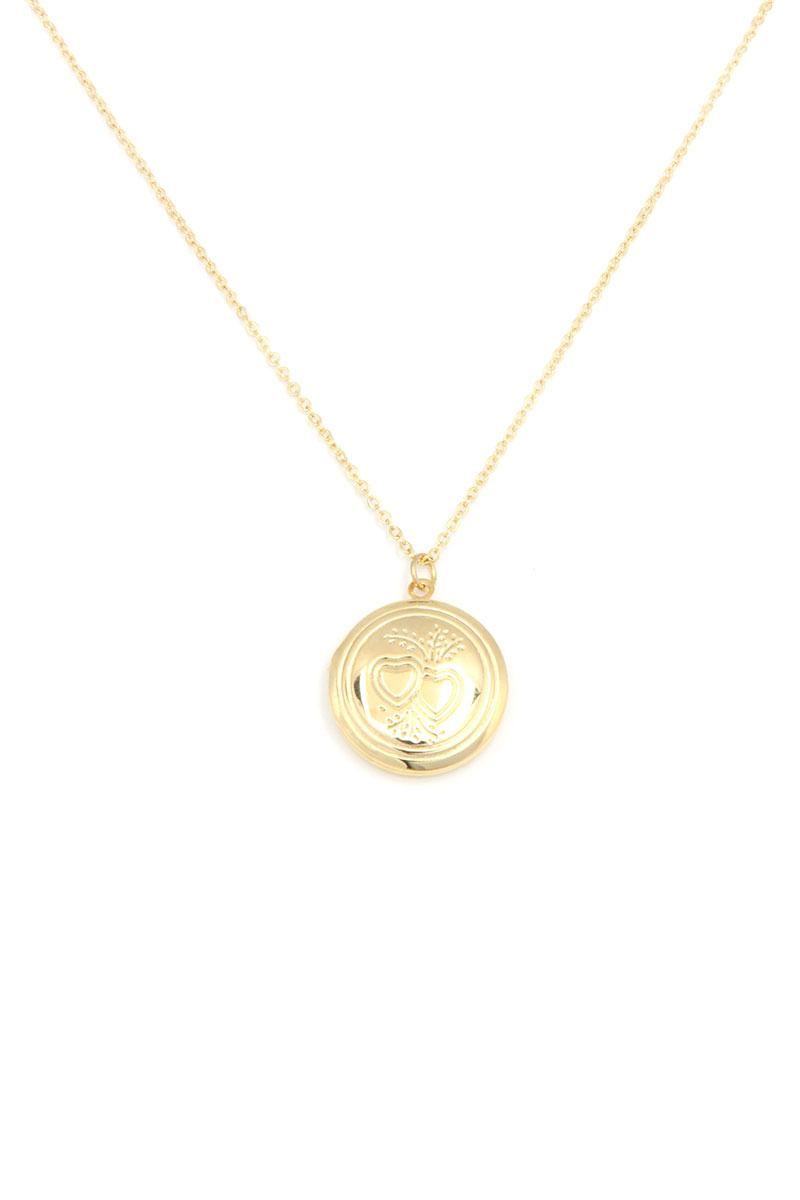 Circle Locket Metal Necklace