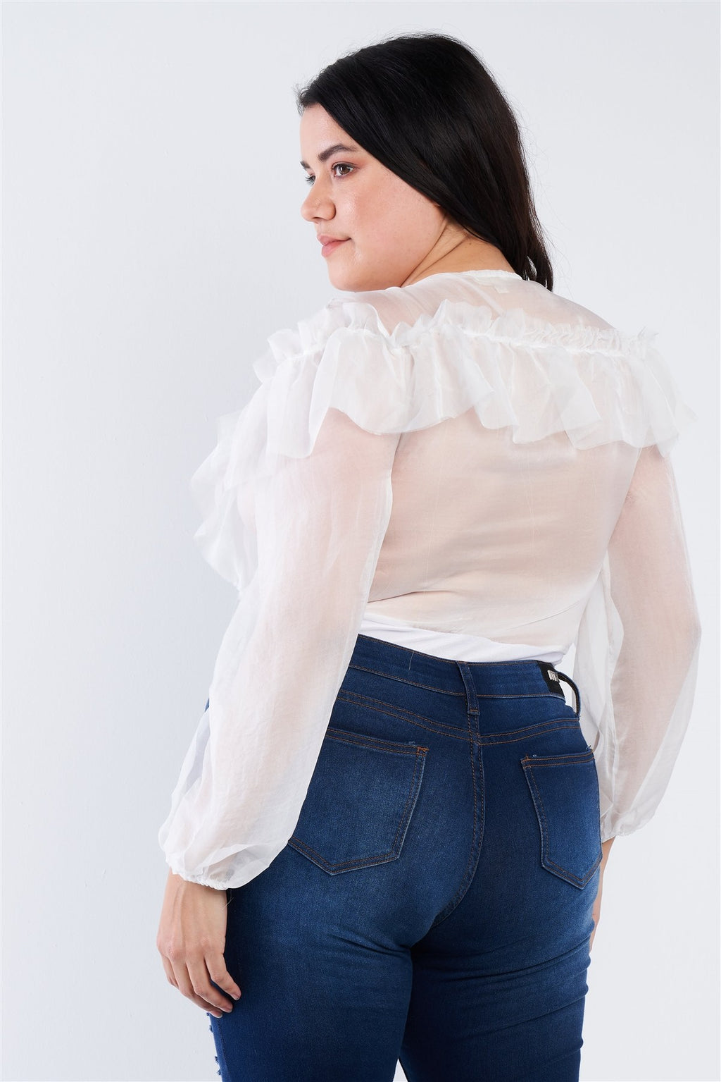 Plus Size Sheer V-neck Frill Silk Full Bottom Snap Bodysuit