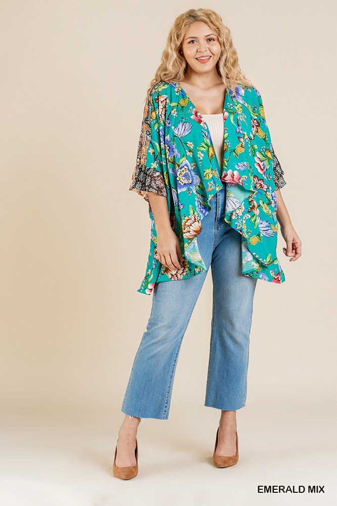 Floral Mixed Print Ruffle Bell Sleeve Open Front Kimono With Side Slits