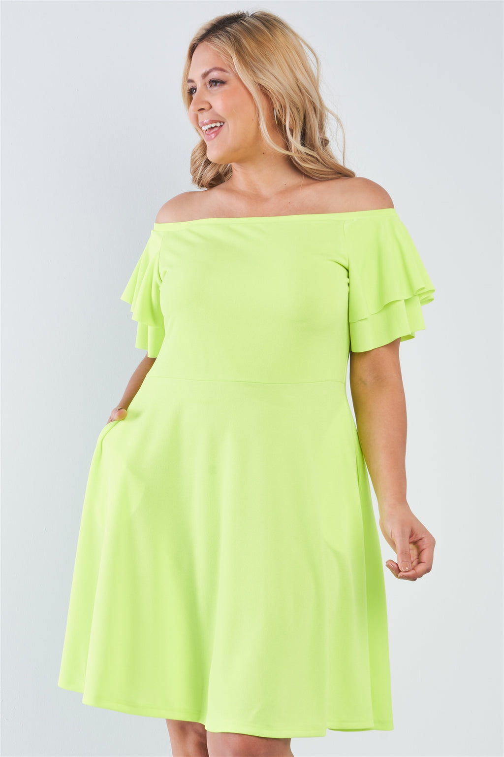Plus Size Off The Shoulder Tiered Sleeves Midi Dress