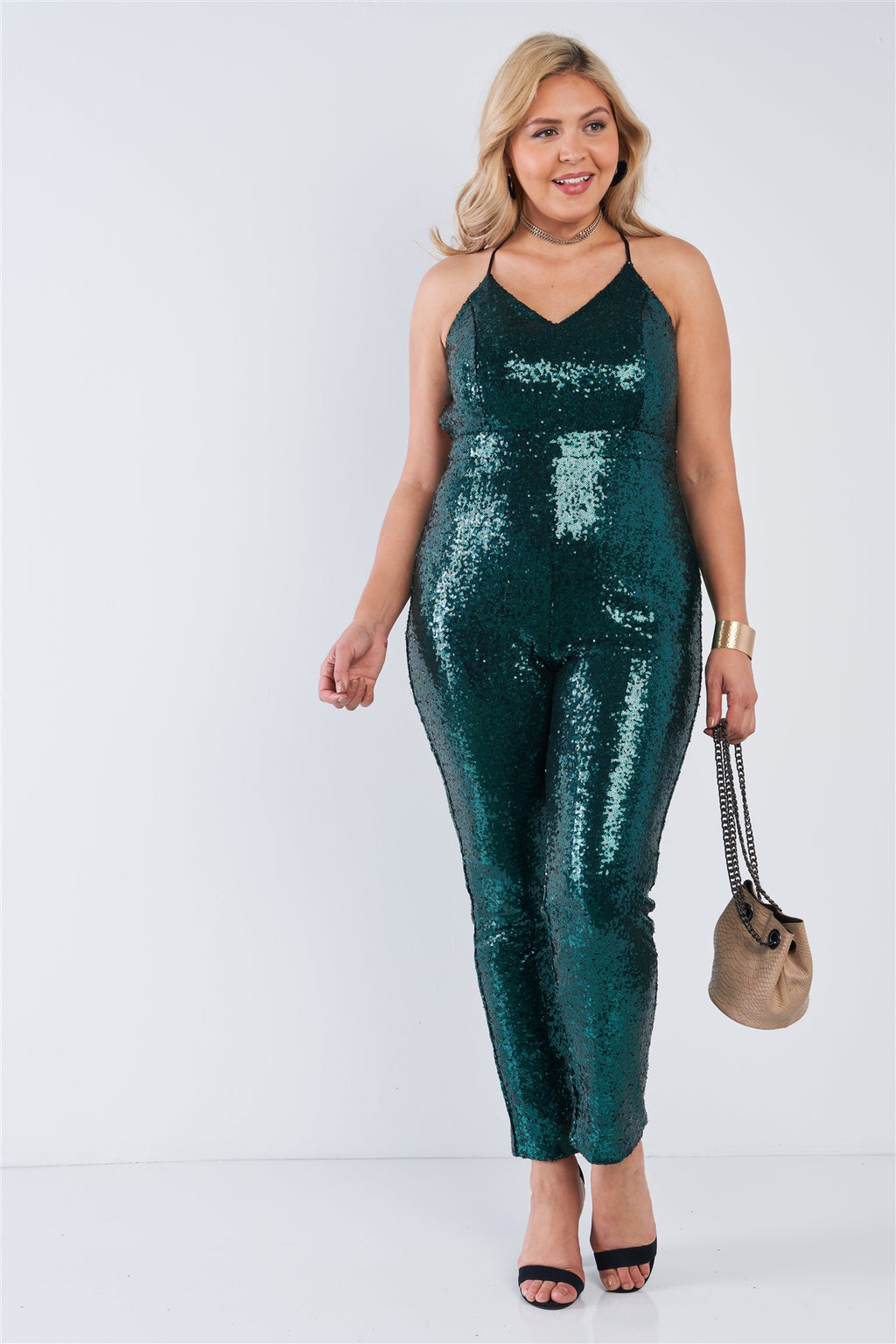 Plus Size Sequin V-neck Criss Cross Open Back Bodycon Jumpsuit