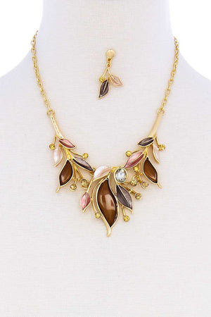 Stylish Multi Rhinestone Leaf Necklace And Earring Set