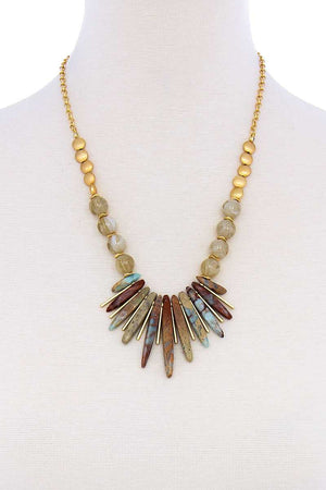 Fashion Multi Stone And Bead Necklace