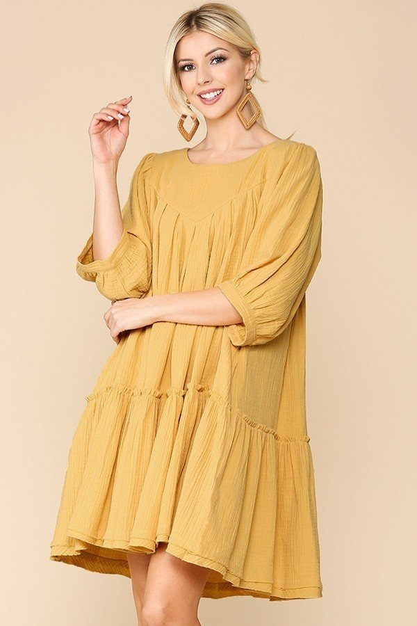 3/4 Sleeve Pocket Ruffle Pintuck Swing Dress