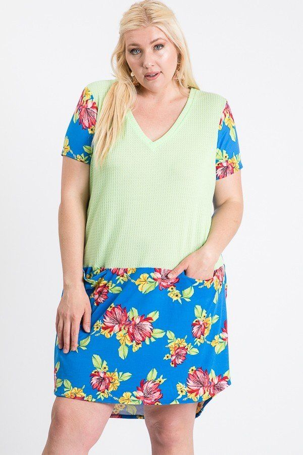 Short Sleeve Floral Blocked Midi Dress With Front Pocket