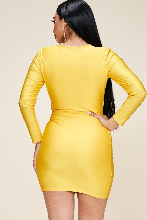 Long Sleeve Solid Tie Front Short Dress