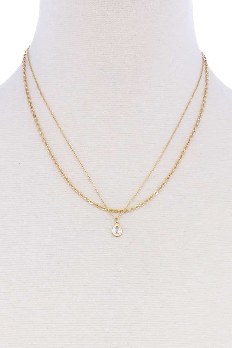 Double Layer Chain Teare Drop Necklace
