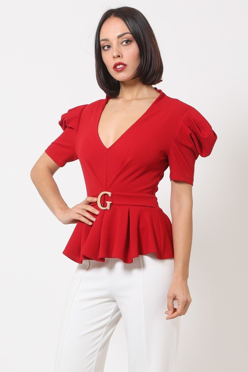 Draped Puff Shoulder Fashion Top With G Buckle Detail