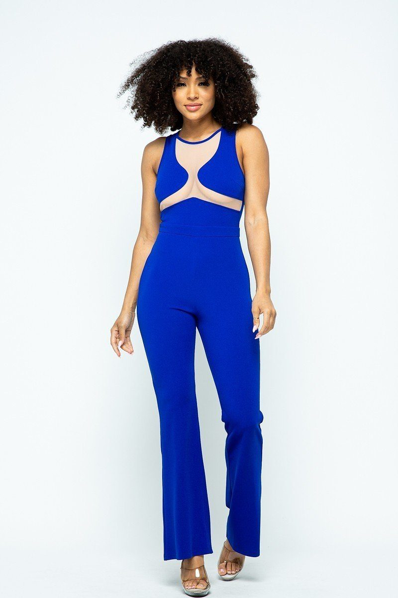 Stretchable Jumpsuit With Mesh Details And Center Back Zippered