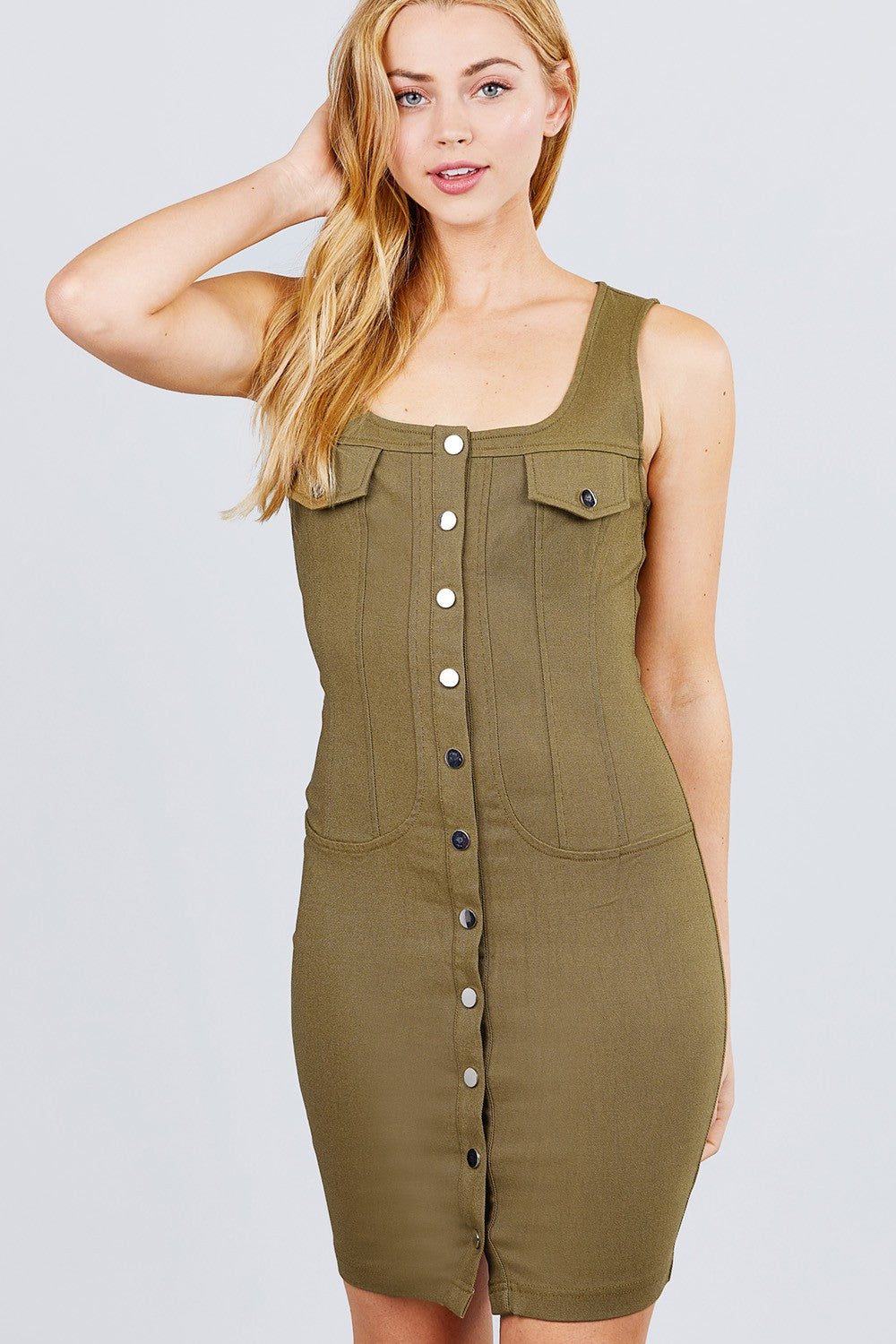 Sleeveless Deep Square Neck Button Down Detail Mini Woven Dress