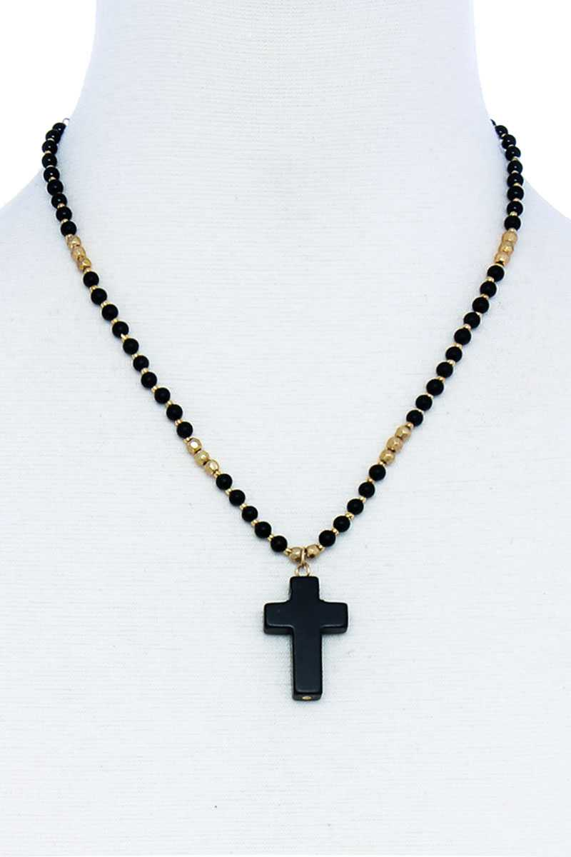 Chic Beaded And Cross Pendant Necklace