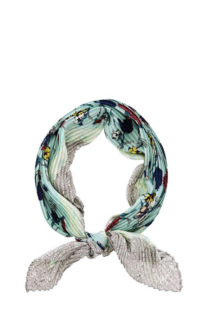 Fashion Floral Print Pleated Bandanna