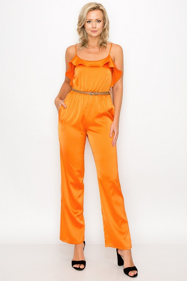 Ruffle Trim Belted Jumpsuit