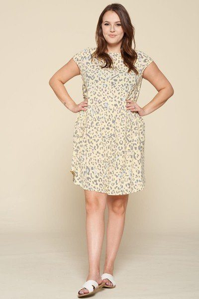 Plus Size Cute Animal And Letter J Printed Loungewear Swing Tunic Dress