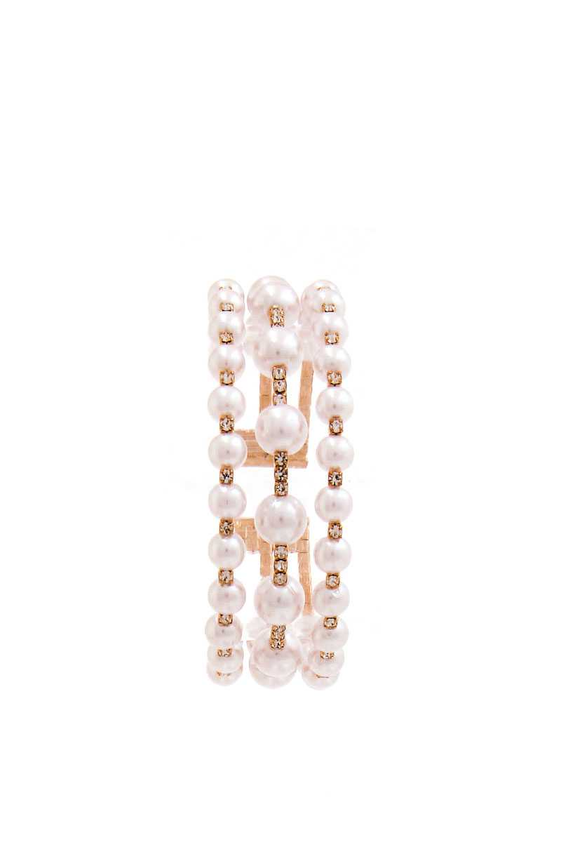 Triple Layer Fashion Pearl And Rhinestone Bracelet