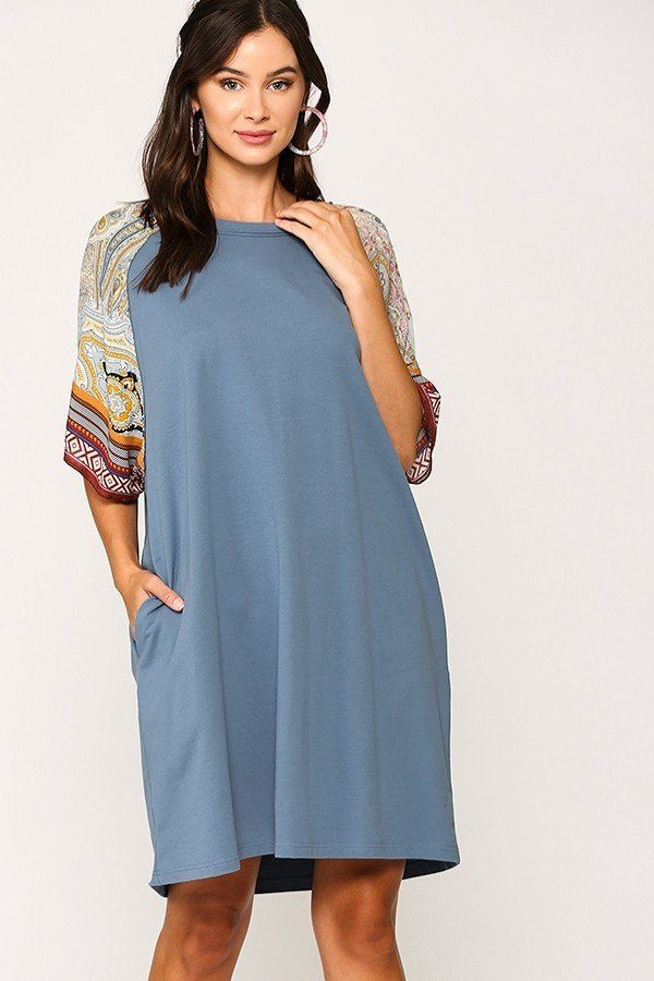 Solid Side Pocket Shift Dress