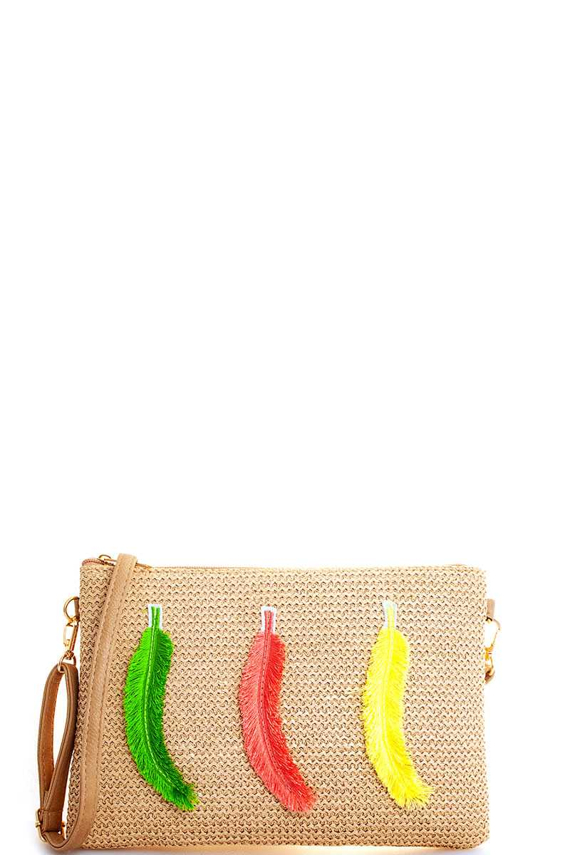 Modern Fashion Woven Feather Clutch With Long Strap