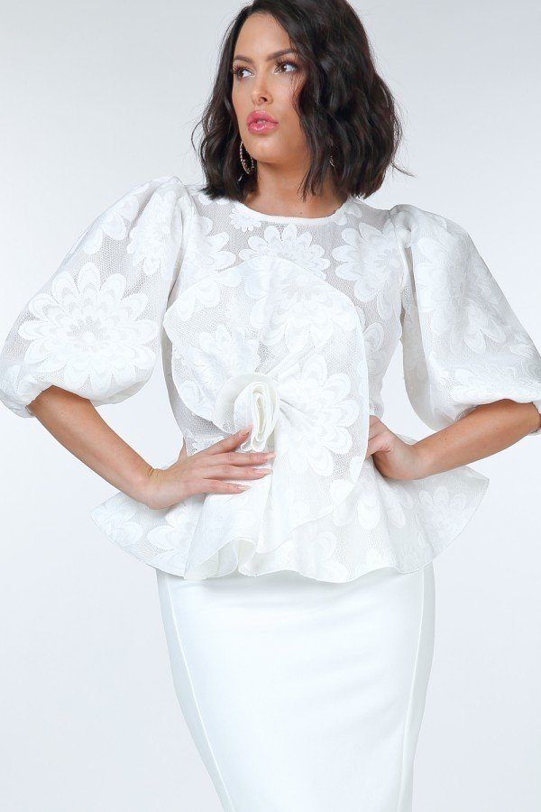 Puff Sleeve Flower Patch Lace Peplum Top