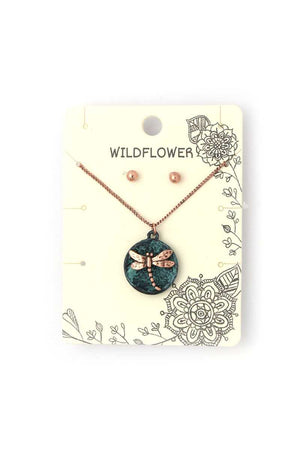 Dragonfly Circle Metal Necklace