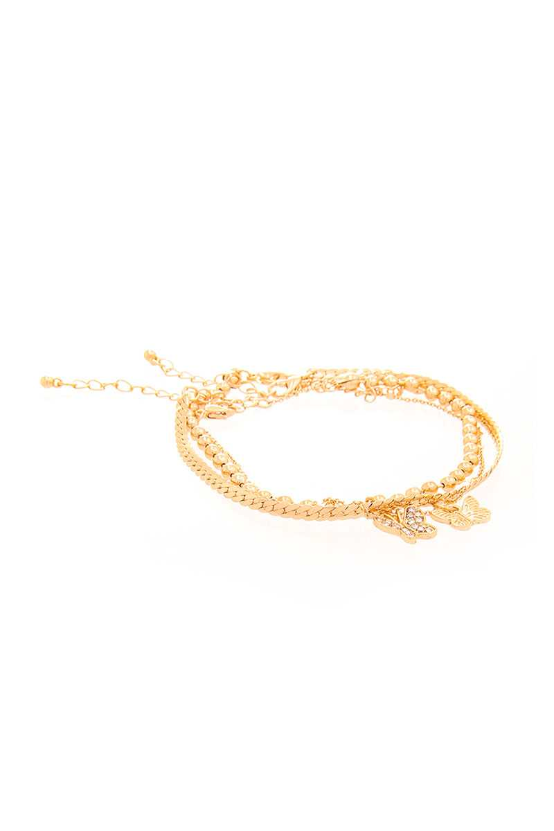 Cute Butterfly Pendant Triple Layer Chain Bracelet
