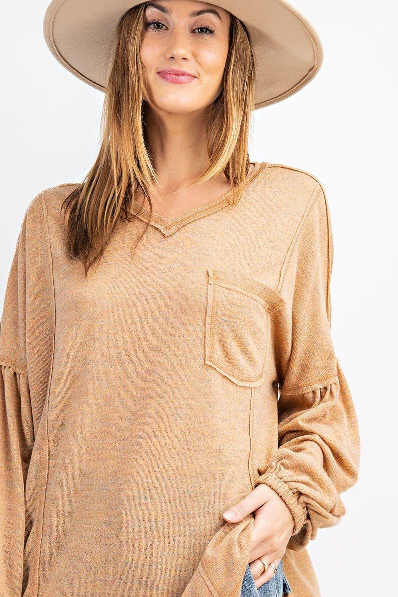 Bubble Slvs Multi Tone Light Hacci Sweater Top