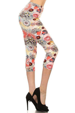 Multi-color Print, Cropped Capri Leggings